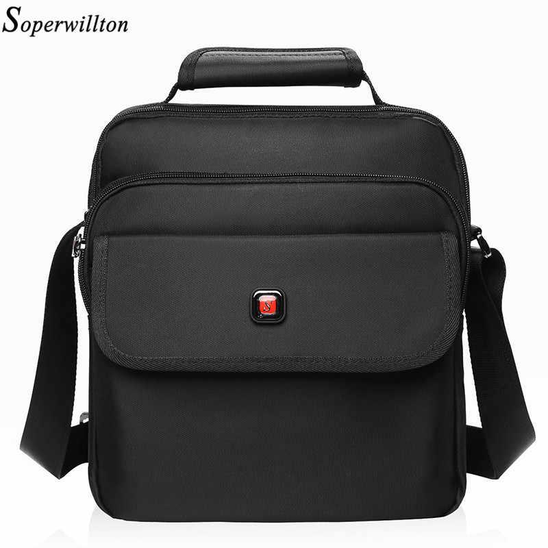 Soperwillton Men's Bag Totes Men Messenger Bags Brand 2019 Fashion Soft Handle Handbag Shoulder Crossbody Bag Male Black #1057