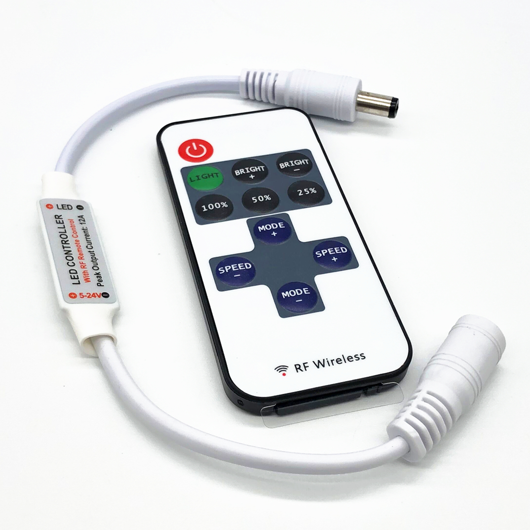 12 24 V 11 Keys RF LED Strip Controller Mini Dimmer RF Remote DC 5V 12V 24V Controller For LED 5050 2835 Strip Single Color