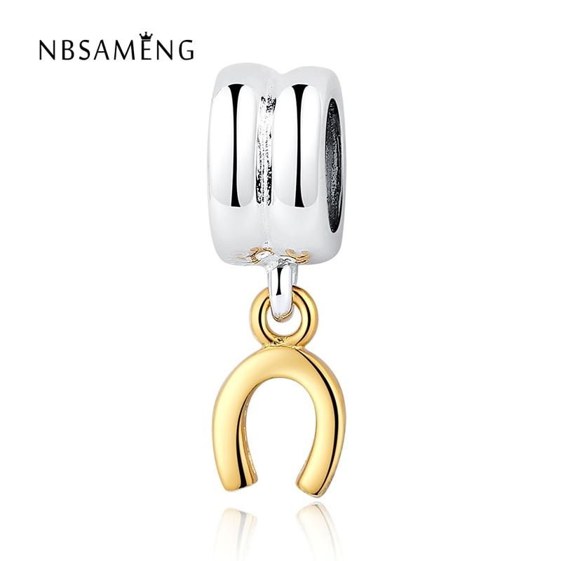 bef72f2f5 Authentic 925 Sterling Silver Bead Charm Gold horseshoe Pendant Beads Fit  Pandora Women Bracelet & bangle DIY jewelry SS0116