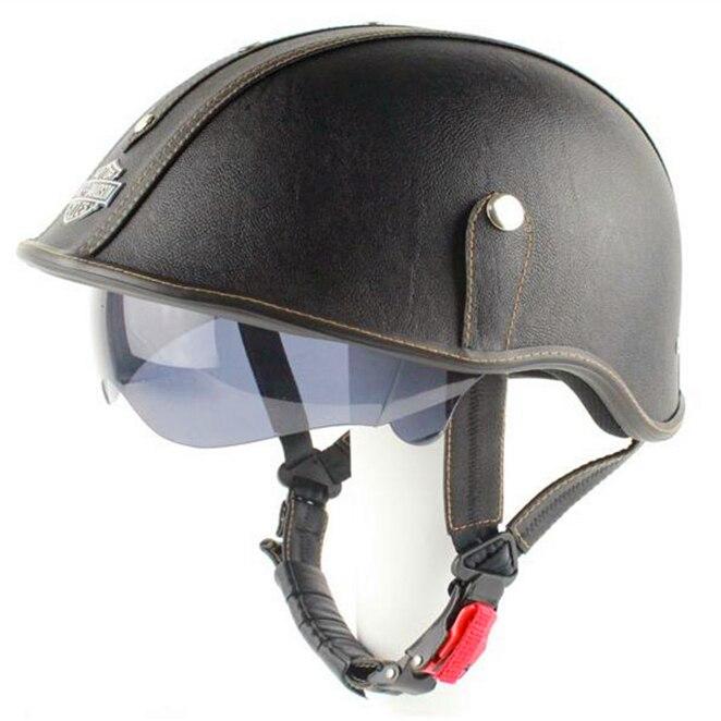 New Retro Leather Motorcycle Helmet Scooter Half Face Helmet With Inner Sun Visor Goggles Black For Harley Rider