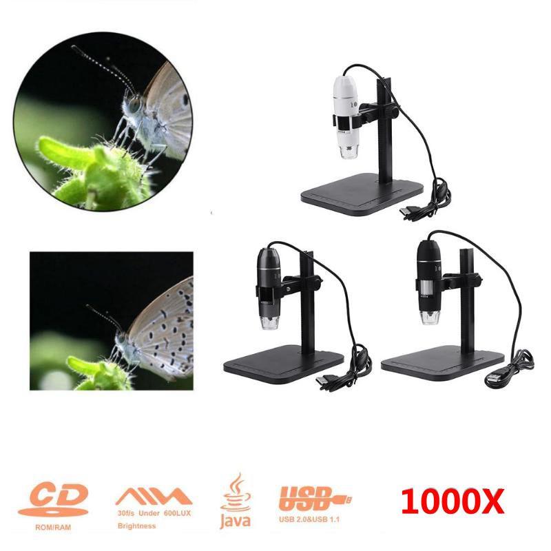цена Digital 8 LED USB 2.0 2MP 1000X Zoom Microscope Practical Electronics Handheld Biological Endoscope Magnifier Camera with Base