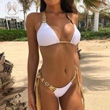 Peachtan Halter bikini 2019 mujer Push up kadın bikini takımı biquini mücevher mayo kadın yaz püskül plaj kıyafeti yeni