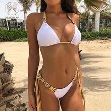 Peachtan Halter bikinis 2019 mujer Push up traje de baño mujeres traje de baño biquini Gem traje de baño mujer verano ropa de playa con borlas nuevo