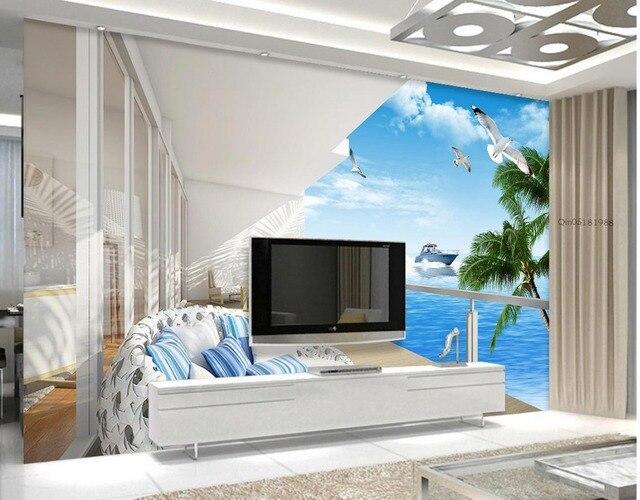 3d angepasst tapete kundenspezifische 3d tapete Balkon mit meerblick
