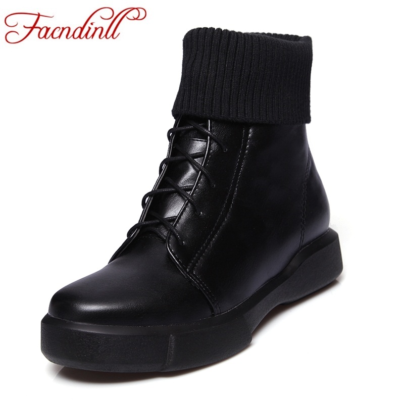 FACNDINLL platform shoes autumn spring women boots plus size women's ankle boots PU leather lace-up ladies boots botas mujer ankle boots women black pu leather extreme high heels zipper autumn brand platform women s shoes motorcycle boots botas mujer