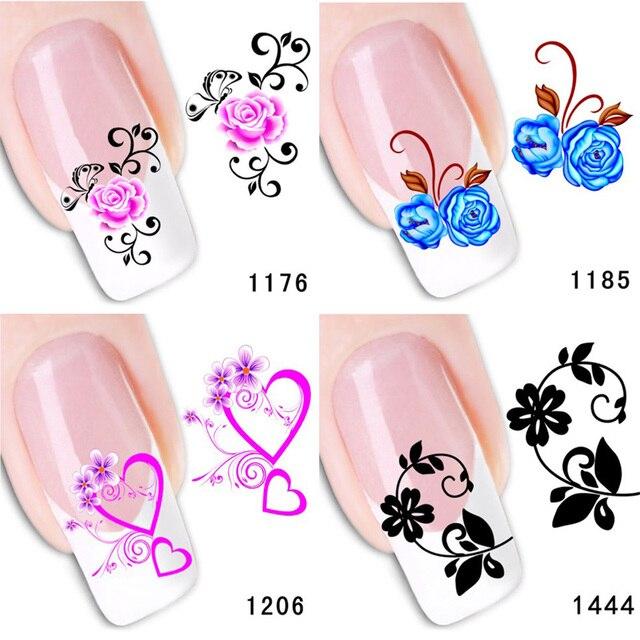 AddFavor 2PCS Makeup Flower Design Water Transfer Nail Art Sticker ...