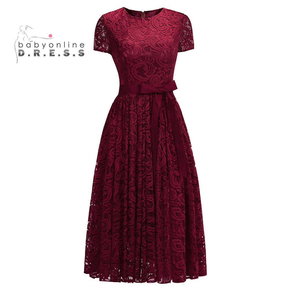 Short Sleeves O-Neck Burgundy Short Lace   Evening     Dresses   2019 Tea Length Formal   Dresses   With Sash Prom   Dress   Vestidos Fiesta