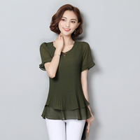 Summer New Women Ruffles Tops Solid Chiffon Pleated Shirts Black Short Sleeves Blouse Green Casual Shirt