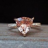 Треугольники Форма 2.5CT натуральный морганит кольцо 14 К розовое золото морганит Свадебные Обручение кольцо Ювелирные изделия с драгоценным