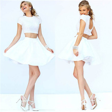 Luxurious Pearls 2 Two Pieces Short Prom Dress White Satin Cocktail Dress Two-Piece Keyhole Back Graduation Party Dress TD027