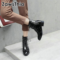 ZawsThia russian patent PU leather chelsea ankle boots lace up women boots white black chunky square low heels gothic girl boots