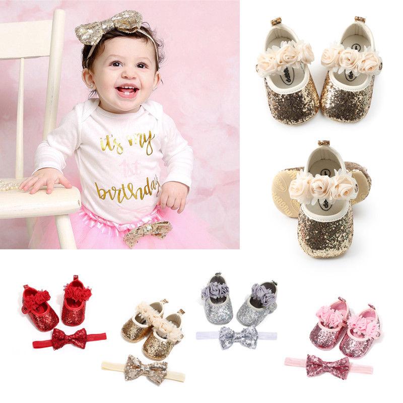 Dress-Shoes Baby-Girls 2pcs-Sets Headband Princess Bow Flat Sequin Heels Foral Party