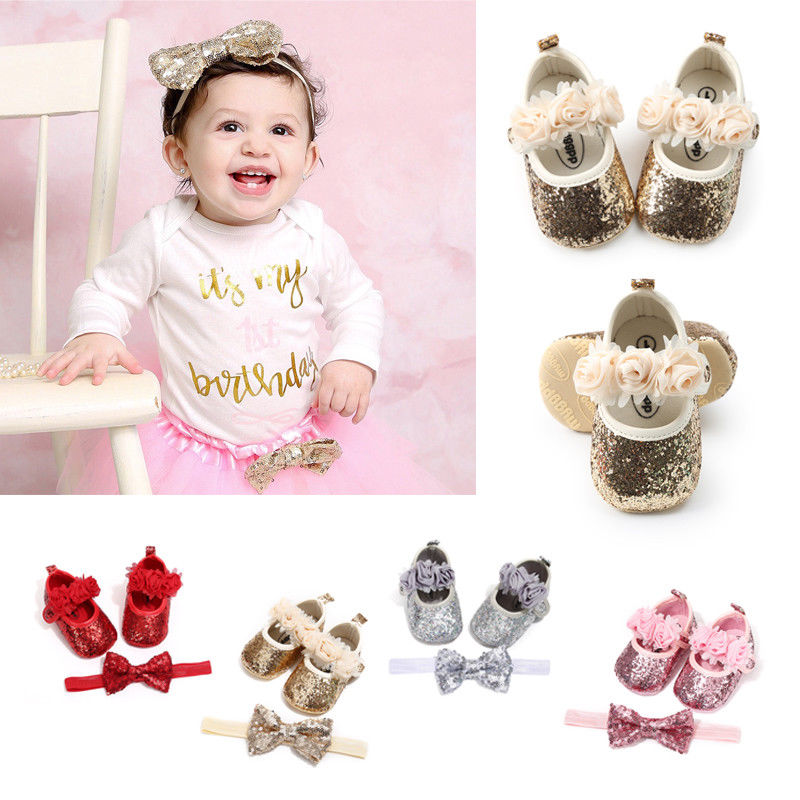 Baby Girls Party Dress Shoes Kids Sequin Flat Heels Shoes Newborn Girls Foral Bow Princess Shoes+Headband 2Pcs Sets