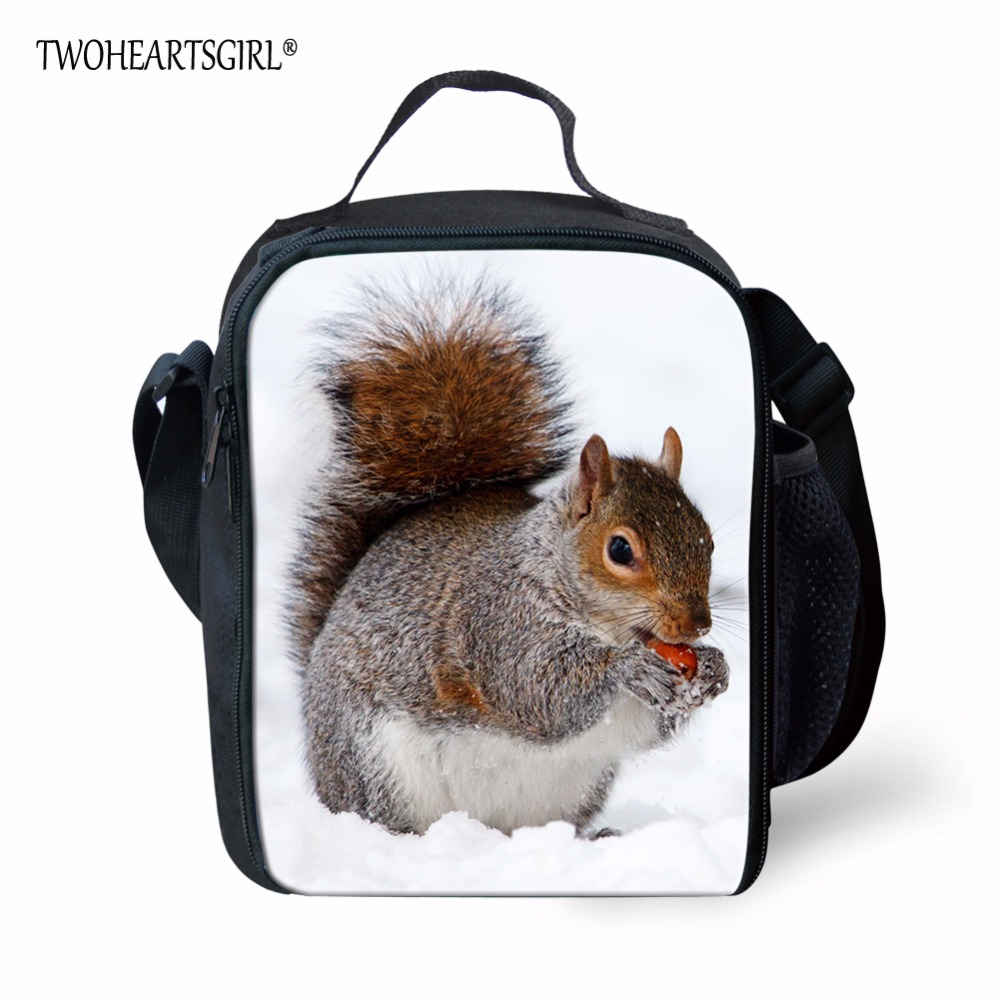 TWOHEARTSGIRL Squirrel Animal Pattern Lunch Bag Double Zipper Lunch Box Insulated Bag for Kid Picnic Bag with Mesh Pocket Bottle