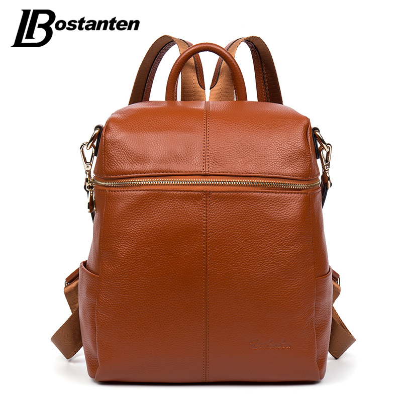 BOSTANTEN 2017 New Arrival <font><b>Real</b></font> Genuine Leather Women Backpack School Bags For Teenagers Fashion Ladies Backpack Bags Sac A Dos