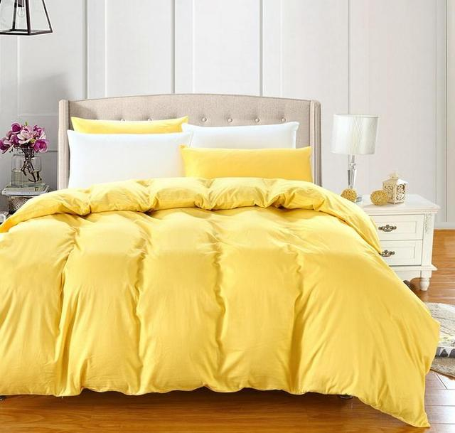 Yellow Pink Purple Blue Solid Color Cotton 1pcs Duvet Cover Comforter Single Double Twin Queen King Full Bed Quilt