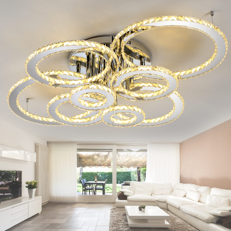 Amicable Stainless Steel Modern Led Ceiling Crystal Chandeliers For Lobby Living Room Bedroom Circle Ring Avize Cristals Large Chandelier Ceiling Lights Lights & Lighting