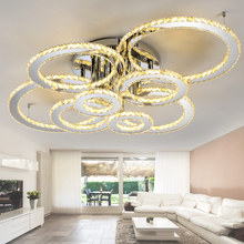 Stainless steel modern led ceiling crystal chandeliers for lobby living room bedroom circle ring avize cristals large chandelier