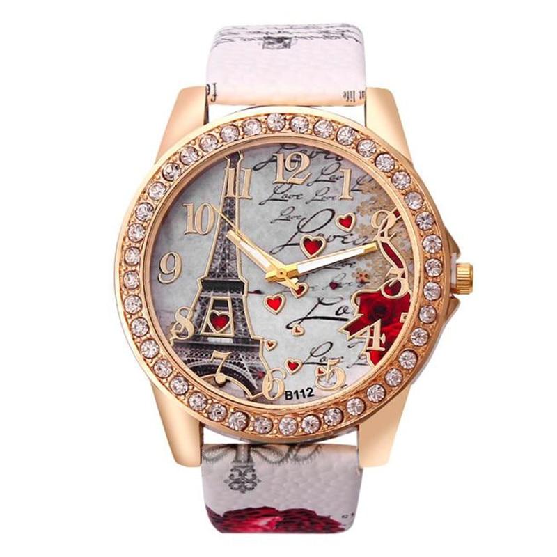 Best Deal Quartz Watch Women Fashion Tower Pattern Diamond Dial Watches Men Faux Leather Watch Women's Dress Clock Montre Reloj quartz watch with small diamond dots indicate leather watch band hearts pattern dial for women