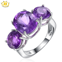Hutang Classic Genuine Amethyst 3 stone Ring Solid 925 Sterling Silver Fine Jewelry Purple Gemstone Women's Best Gift Party Ring