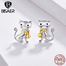Bisaer Hot Sale Wanita Anting-Anting Perak Sterling 925 Bell Kucing Anting Kecil Anting-Anting Kucing Pussy Sterling Silver Anting-Anting Perhiasan EFE112(China)