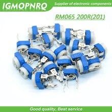20 pçs trimmer potenciômetro rm065 RM-065 200ohm 200r 201 dip trimmer resistores ajustáveis variáveis RM065-201 igmopnrq
