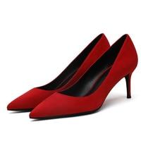 Women's Red Shoes 5cm 6cm 8cm Thin Heel Sexy Woman Pumps Summer EUR 34 40 Office Ladies Femme Chaussure F0044