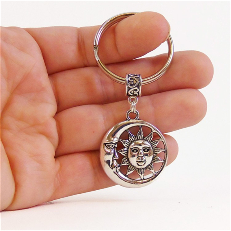 Key Chain Charm Moon Sun Keychain Women And Men Vintage Keychain Ring Car Accessories Car Phone Decoration