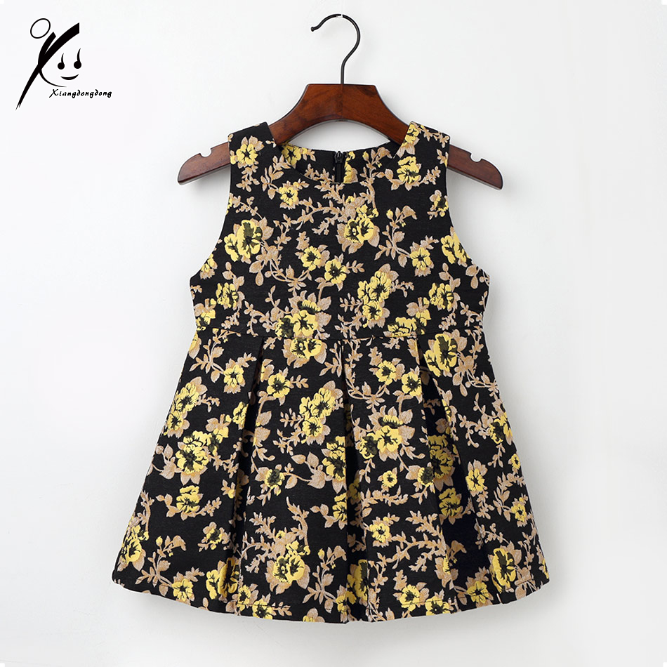Toddler Autumn Dress for Baby Girl Teenage Children Cotton Clothing 2017 Kids Gold Jacquard A-line 2T 3T 4T 5T 6T 7T XDD-L1003