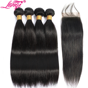 Image 2 - Lanqi ישר שיער חבילות עם סגירת שיער טבעי מארג 2 4 חבילות עם סגירה פרואני שיער חבילות עם סגירת שאינו רמי