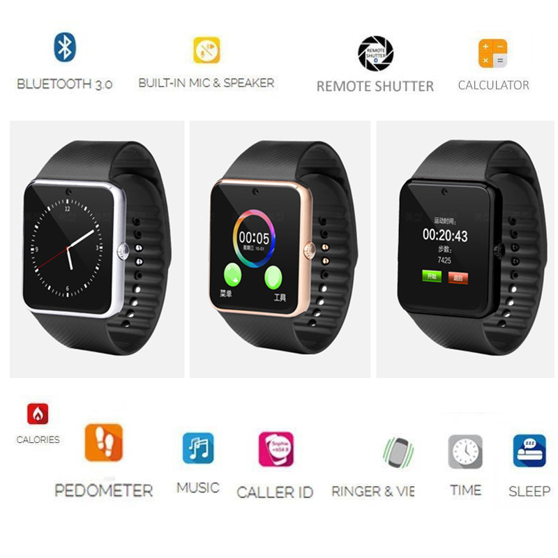 GT08 Smart Watch Bluetooth Support SIM TF Card WristWatch Clock Sync  Notifier Smartwatch For IOS Android Phones Alloy Smartwatch