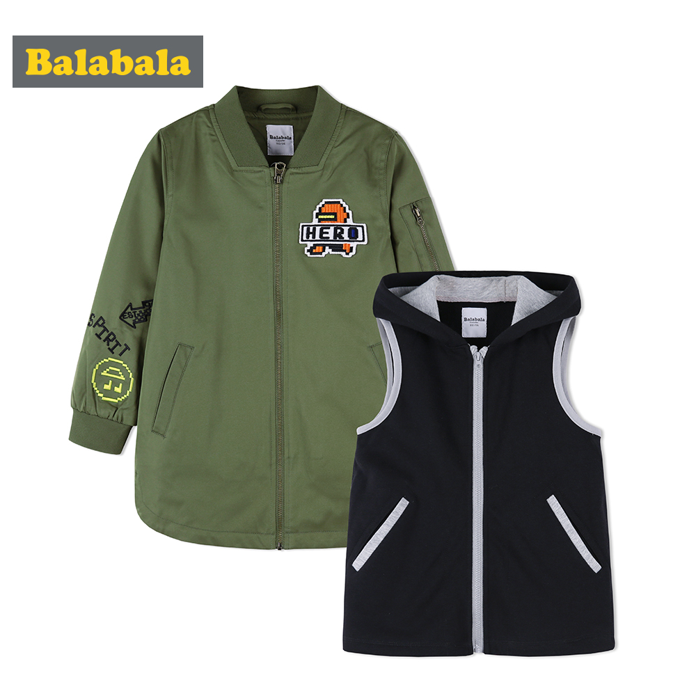 balabala Children Jacket For Boys Autumn 2018 New Clothing Casual Breathable Jackets Two-piece Detachable Coat For Kids Boys цена 2017