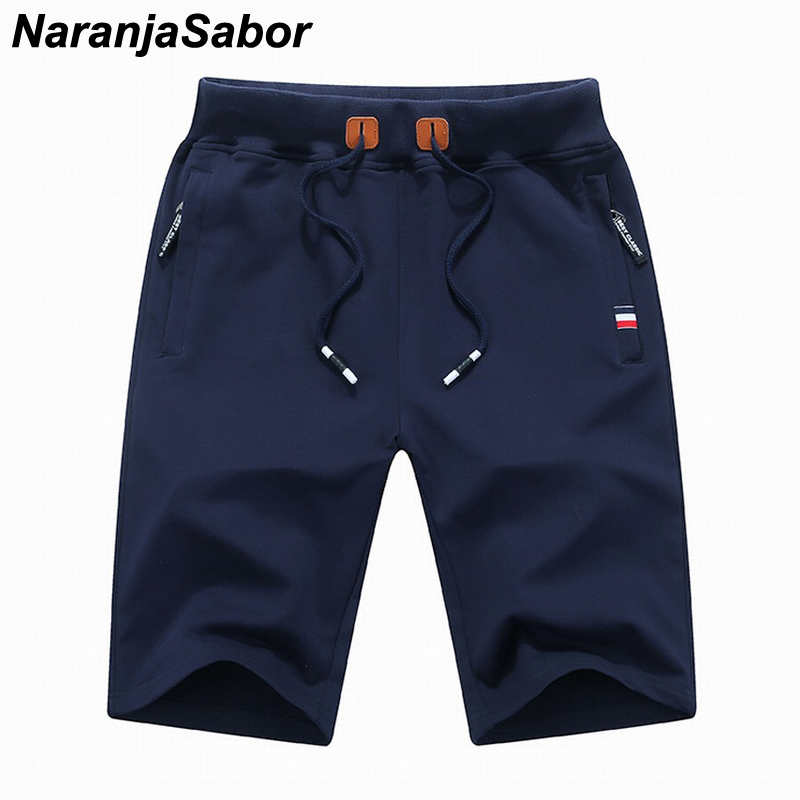 NaranjaSabor Summer Solid Men's   Shorts   Summer Cotton Casual Mens Beach   Shorts   Male   Shorts   Knee Length homme Brand Clothing 4XL