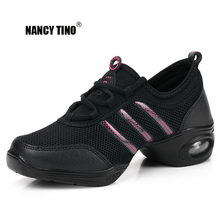 NANCY TINO Soft Outsole Breath Dance Shoes Women Sports Feature Dance Sneakers Jazz Hip Hop Shoes Woman Professional Dance Shoes(China)