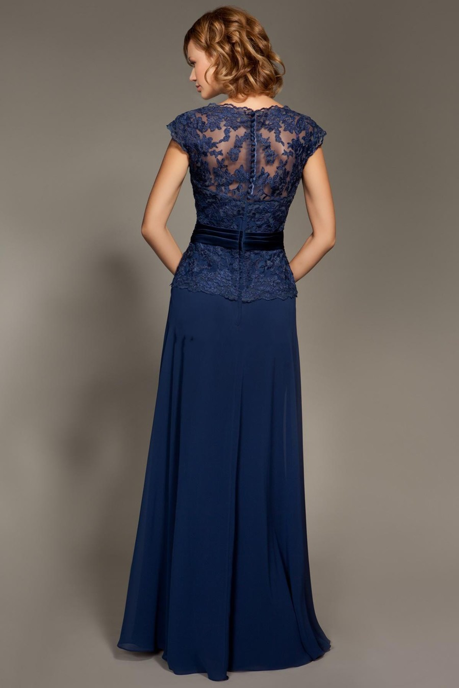 Cheap Dark Navy Blue Lace Cap Sleeve Chiffon Floor-Length Mother Of The Bride Dresses Party Dresses Prom Dresses (2)