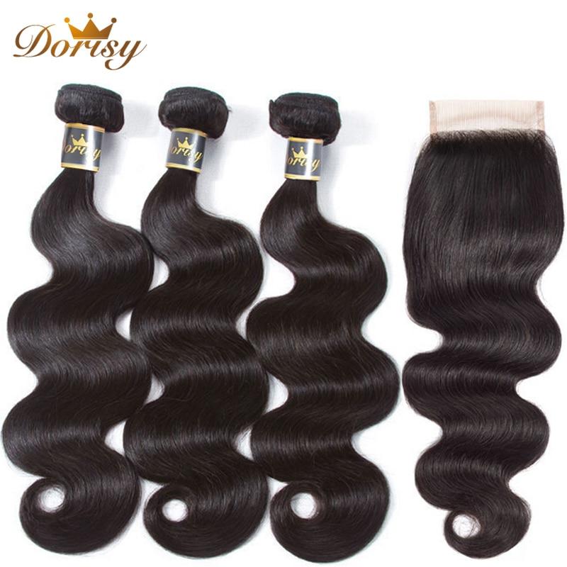 Paquetes de onda corporal con cierre 100% paquetes de cabello humano con cierre paquetes de armadura de cabello brasileño Dorisy no Remy extensión de cabello