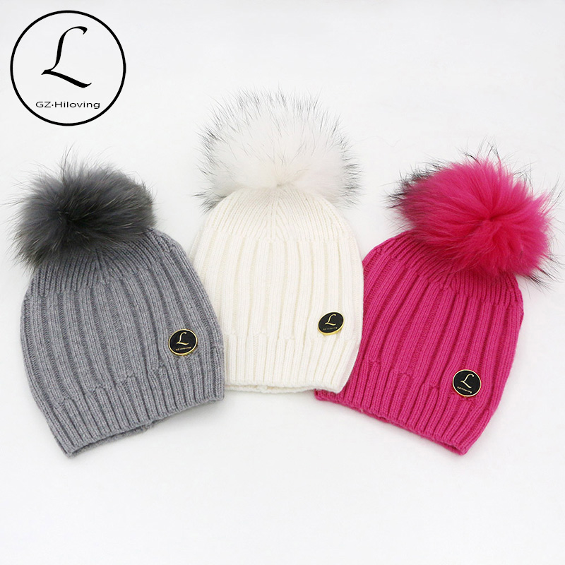 100% Real Big Raccoon Fur Pompom Wool Female Cap Warm Black And White Striped Hat Knitted Winter Hats For Women Skullies Beanies 2017 new brand winter 100% real big colorful raccoon fur hats knitted wool with gunuine fur pompom beanies hat cap for women