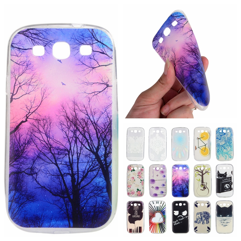 Cases For Samsung Galaxy S 3 i9300 Neo Duos i9300i Cute Slim Painted Back Case TPU Transparent Clear Soft Silicon Phone Cover ...