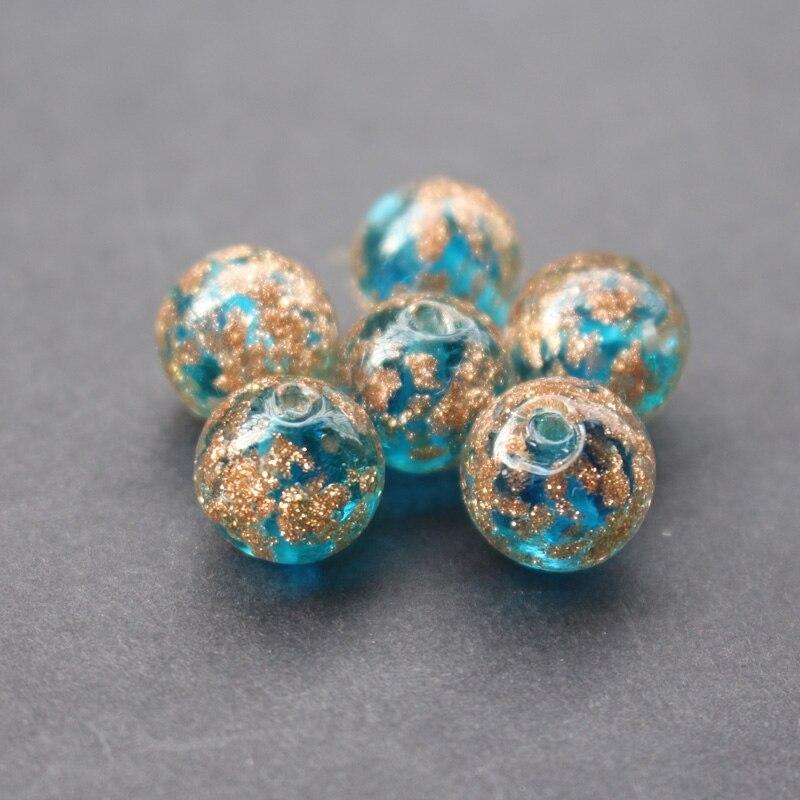 10 Teile/los 12mm Murano Glasperlen Boutique Perlen Teal Blauen Farbe Mit Shinning Sand Für Ohrring Halskette, Top Wassermelonen