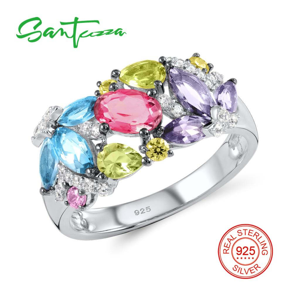 Silver Rings for Women Rainbow Gem Stones Created Sapphires Jewelry Ladies Rings Pure 925 Sterling Silver