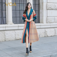 VOA Cashmere Camel Coat Women Winter Wool Long Overcoat Classic Plaid Luxury British Wind Suit Formal Ladies Warm casaco SA8109