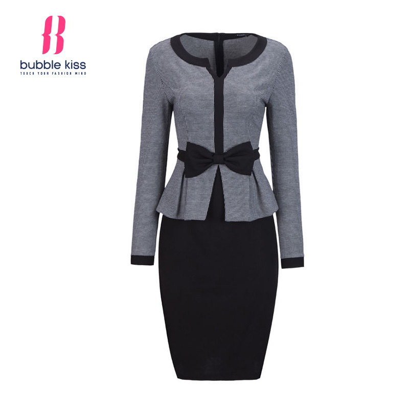 Office Dress Women Autumn Long Sleeve Houndstooth Patchwork Bow Peplum Formal Plaid Bodycon Pencil Dress vestidos Bubblekiss