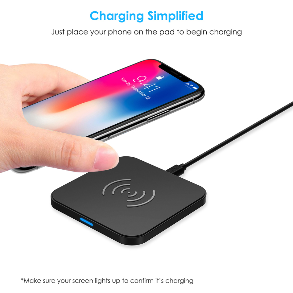 Image 2 - CHOETECH Wireless Charger Anti Slip Rubber 5W Qi Charging Pad Charger With Micro USB Cable For Samsung S8 Note 8 For iPhone X 8-in Mobile Phone Chargers from Cellphones & Telecommunications