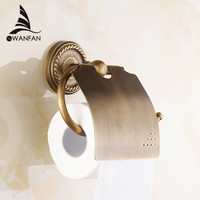 Paper Holders Antique Brass Toilet Roll Tissue Holder Bath Rack Wall Mounted Bathroom Accessories Black WC Paper Holder HJ 1308