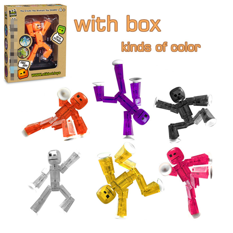 1 piece random color Stik bot Screen Animation Toys Shed Dolls with Sucker DIY Creat Animation
