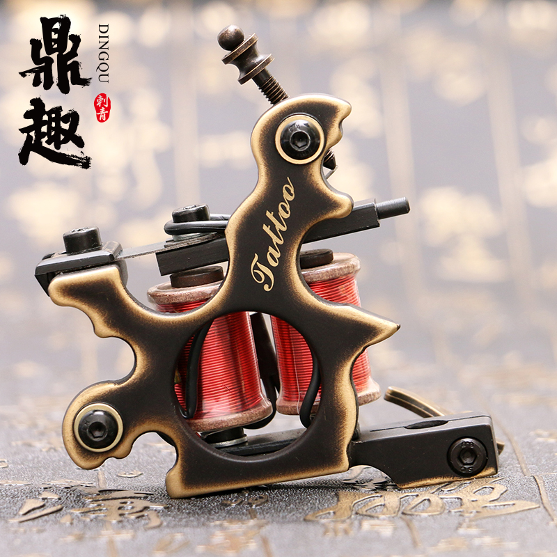 Pure Copper Handmade Tattoo Machine Liner Dual 10 Wrap Coils for Tattoo Gun Supplies Free Shipping TM453 new arrival 2017 wholesale professional handmade tattoo 10 wrap coils machine for liner hot sale free shipping