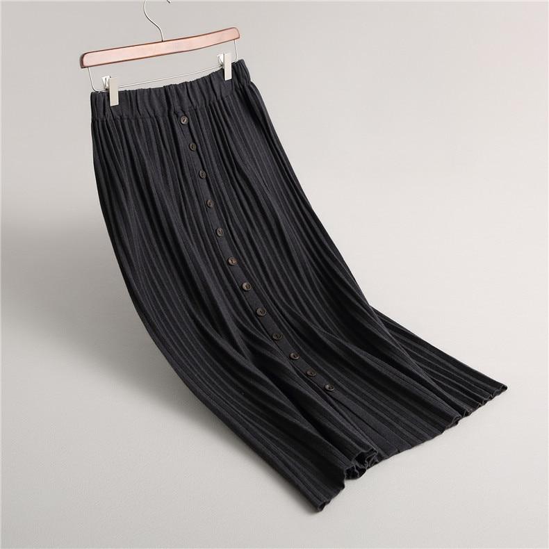 Plisada Otoño Alta Del gris De Negro Innasofan naranja Punto Oscuro Europea Botones Mujeres Falda Con invierno caqui Cintura Elegante Sólido Moda Ttqwnwz0E