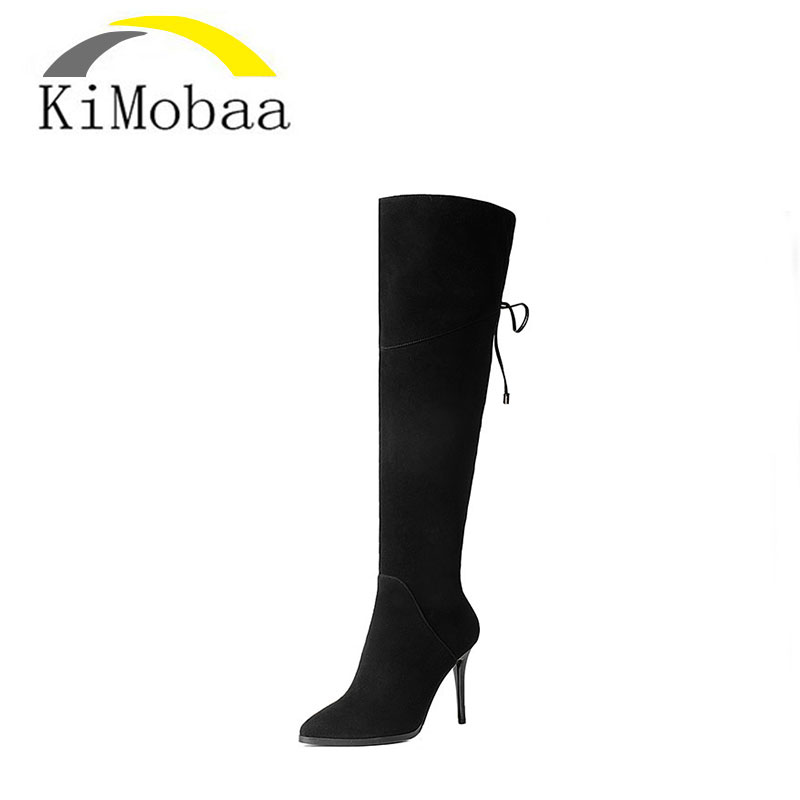 Kimobaa Women Knee Boots Back Lace Up Pointed Toe Sexy Winter Boots Zip Shoes Woman Sheepskin Flock+Genuine Leather TX53 women kid suede lace up comfortable square heel knee high boots fashion pointed toe keep warm winter shoes black khaki