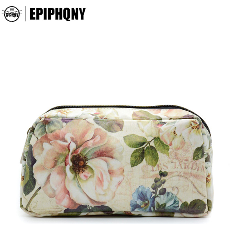 Small Cosmetic Bag Flowers and Leaves Printing Women Makeup Bags Female Zipper Travel Make Up Case Pouch japanese pouch small hand carry green canvas heat preservation lunch box bag for men and women shopping mama bag