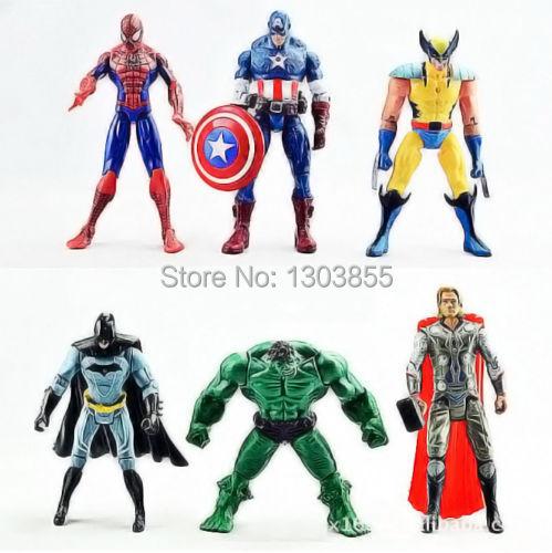 6PCS The Avengers Hulk+Wolverine+Batman+Spiderman Action Figures Boy Xmas Gift A